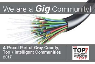 we are a Gig community! A proud part of Grey County top 7 intelligent communiteis 2017